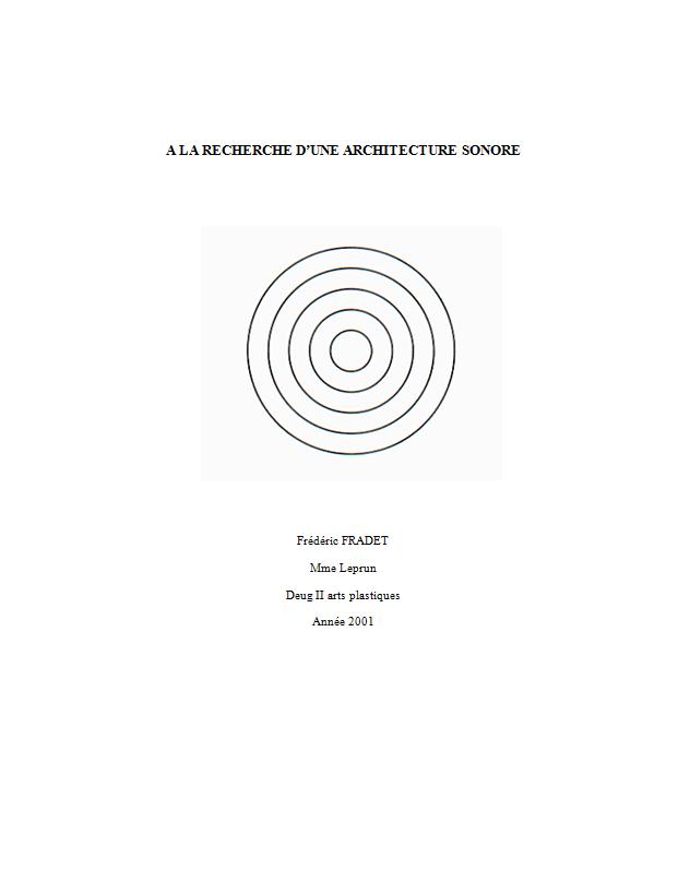 à la recherche d'une architecture sonore